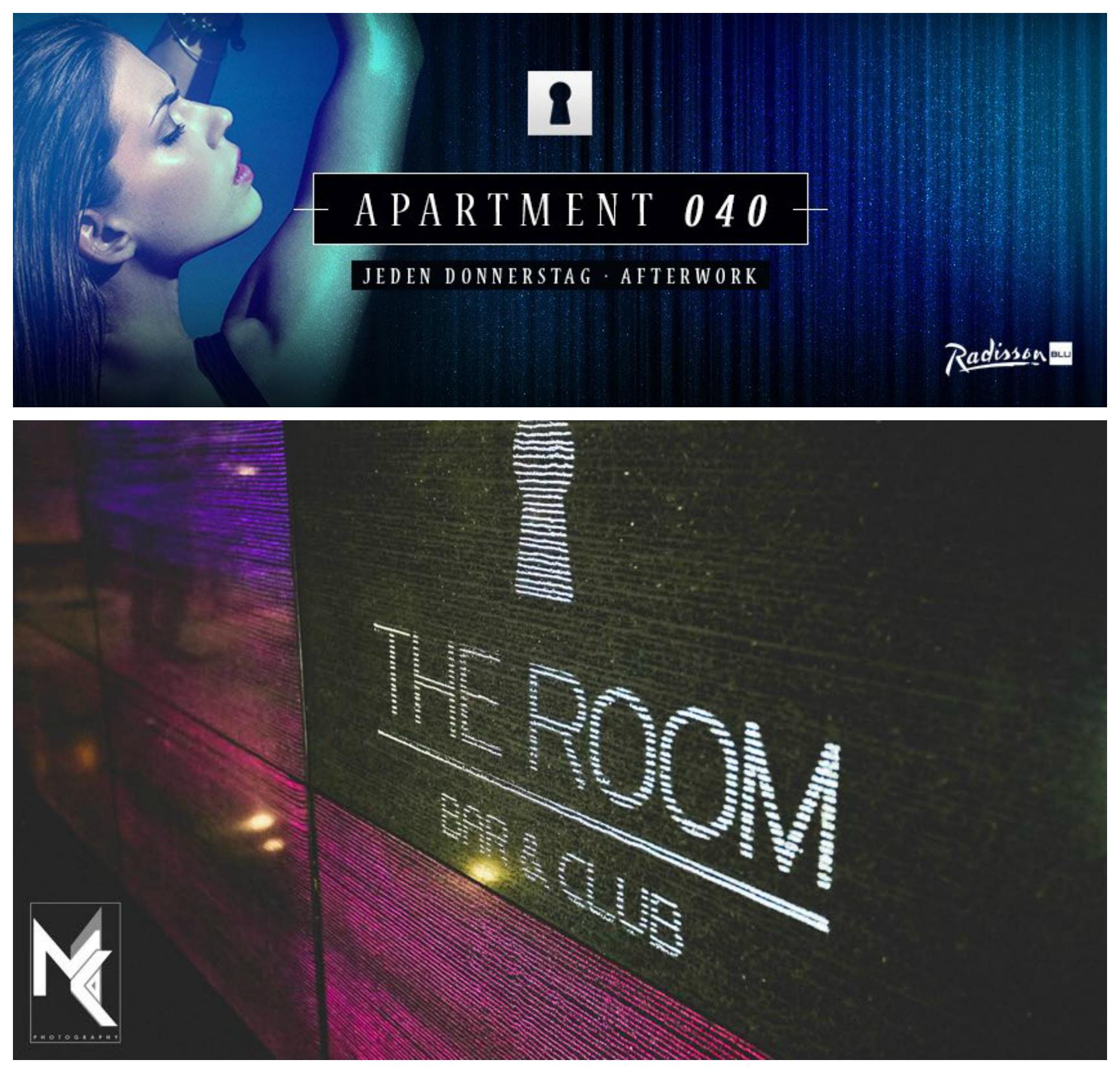 donnerstag 23 oktober after work action apartment 040 the room im radisson blue in. Black Bedroom Furniture Sets. Home Design Ideas