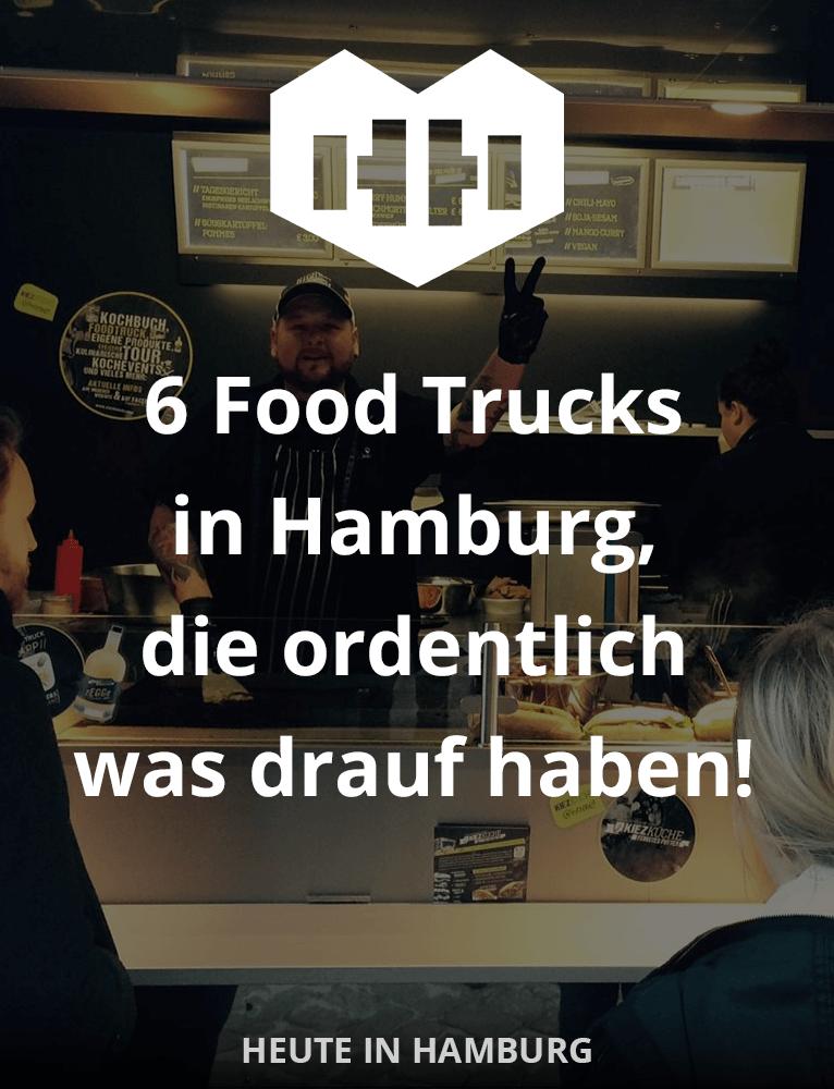 6 Food Trucks in Hamburg, die ordentlich was drauf haben! Wir haben sie heimlich getestet und für empfehlenswert befunden! Richtig gut haben uns die Süßkartoffel-Pommes von der KiezKüche geschmeckt – ein Traum! :-)