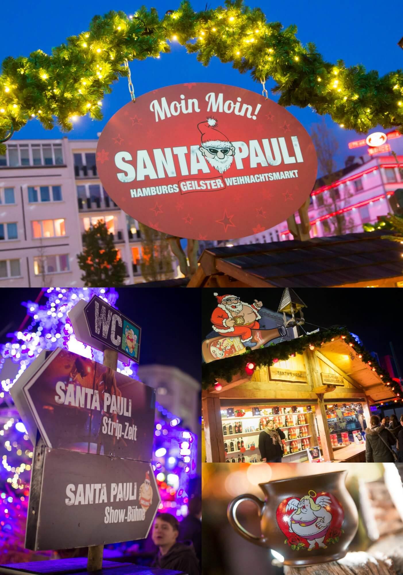 Weihnachtsmarkt Eröffnung Hamburg.Stripzelt Livemusik Heiße Engel Leckerer Glühwein Santa Pauli