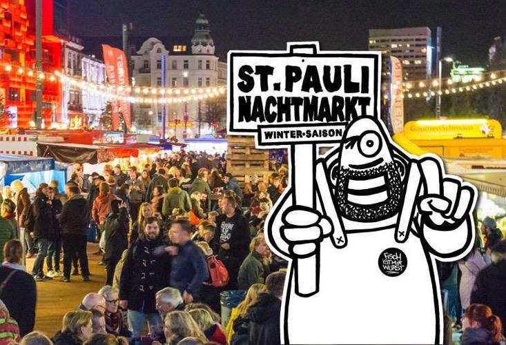Schnabuliere und shoppe auf dem St. Pauli Nachtmarkt.