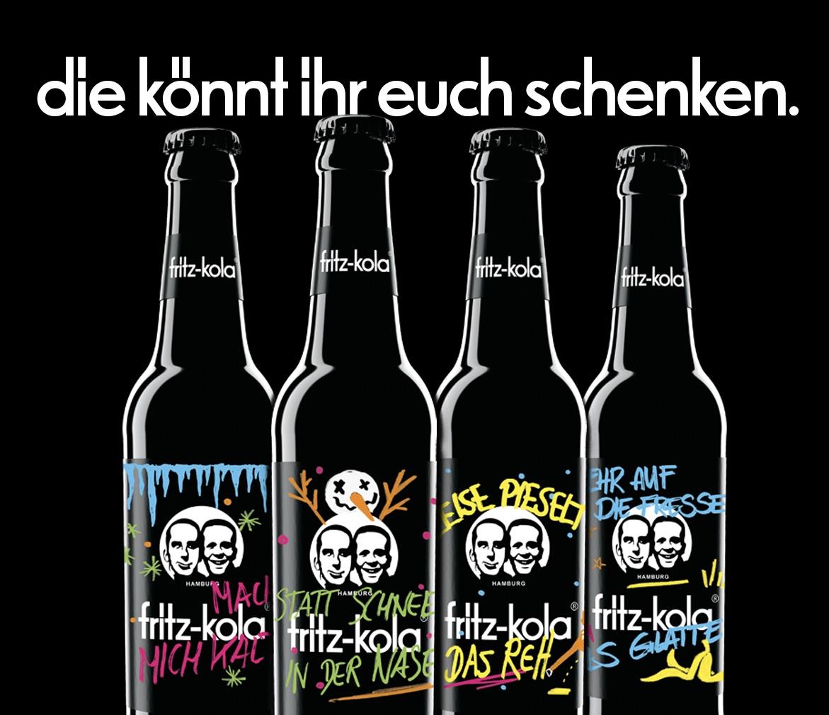 Türchen 3 🎁 Wir verlosen 3 fritz-kola Pakete mit leckeren Drinks, Socken und Pulli.